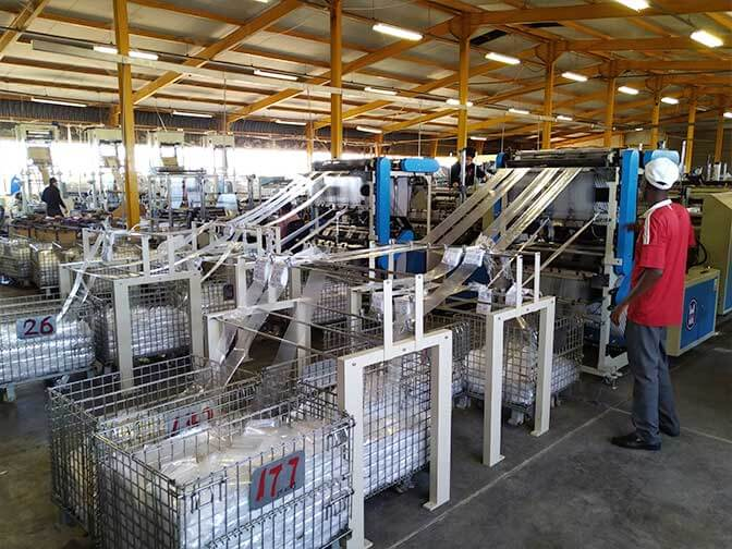 The developing country, Africa, introduces a fully automated plastic bag production process.