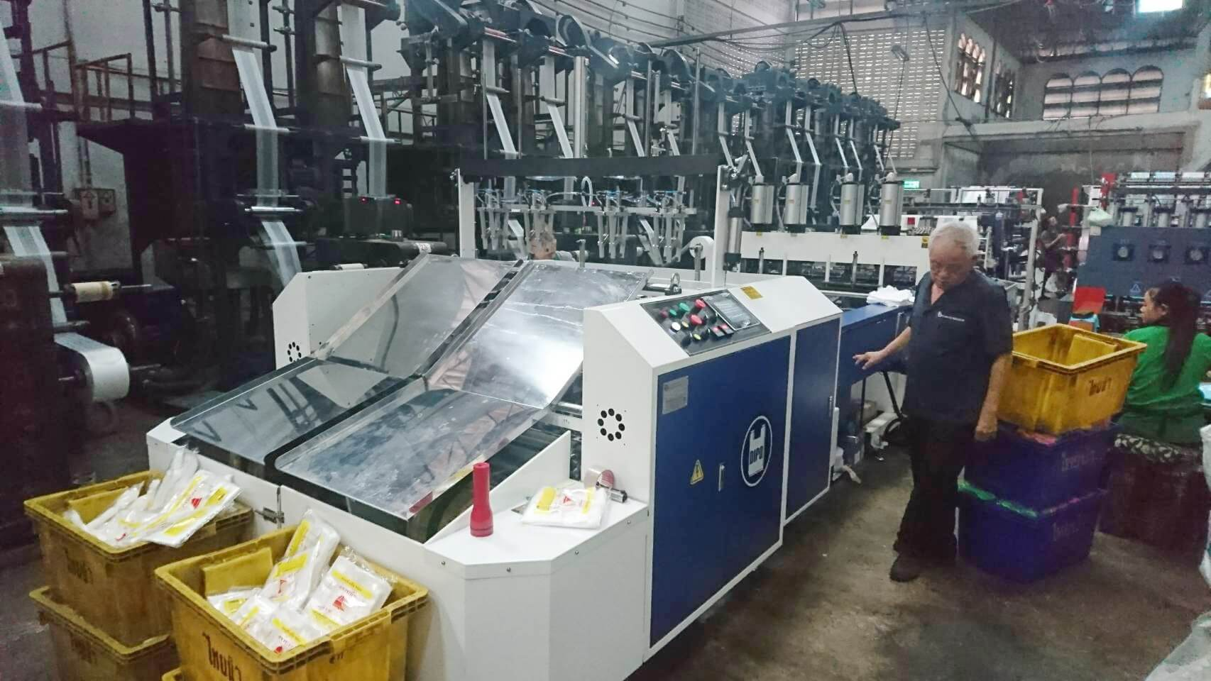 Automatic 8 Line T-Shirt Bag Making Machine are installed in Thailand.